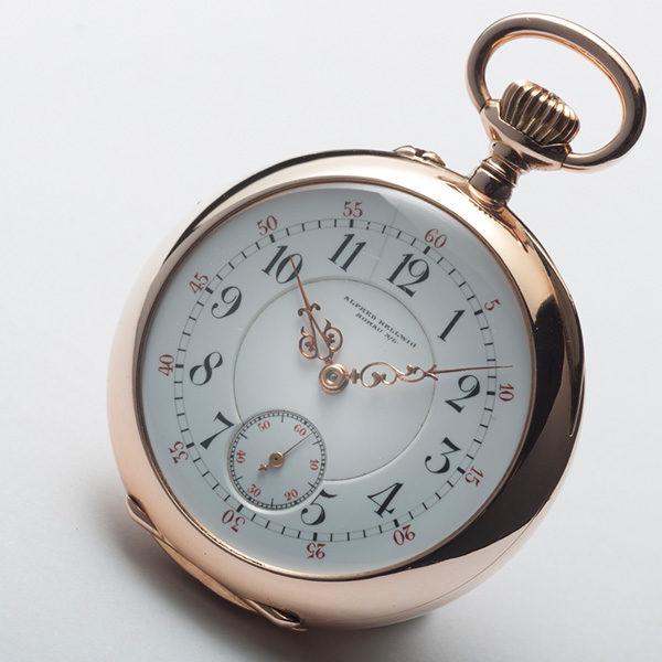 Goldene-Damentaschenuhr,-Alfred-Helwig,-Zifferblattansicht