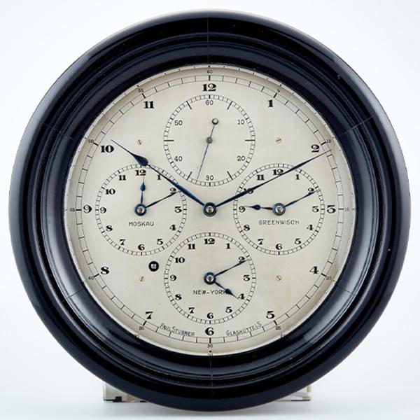 Weltzeituhr von Paul Stuebner mit vier Zeitanzeigen 1927